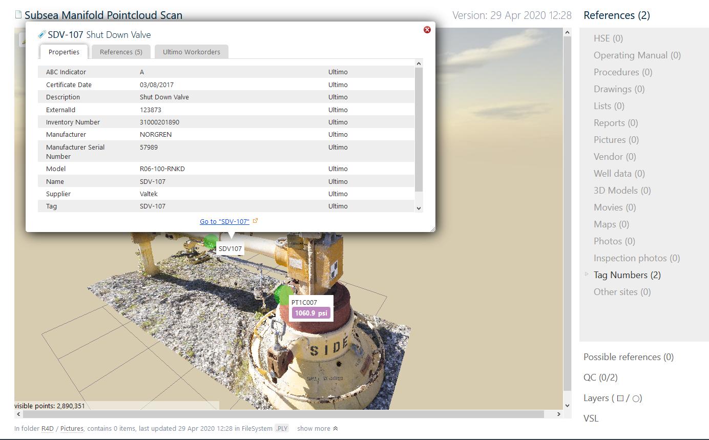 Display PI values inside pointcloud scans and 3D models